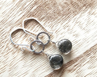 Chaotic Dream - Handmade Earrings - Black Tourmalinated Quartz - Sterling Silver Earrings - Gemstone Earrings - Dangle Earrings - Modern