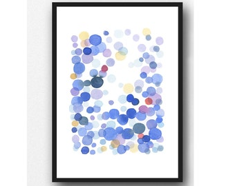 Watercolor blue water drops, watercolor print, abstract watercolor painting blue bubbles, Watercolor Print, Nursery print