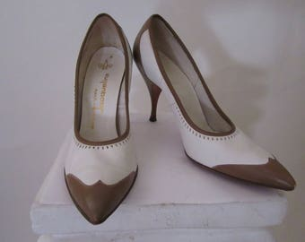 "Vintage '50s Brown and White Spectator Heels by ""Jacqueline"""