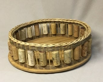 Round, Hand Woven Tray Basket with Wooden Base, Wine Corks