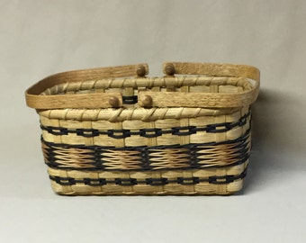 Hand Woven Rectangular Basket, Wood Base, Wood Swing Handles, Black and Tan Accents