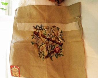 Vintage Needlepoint/ 26X26 Partially Finished Canvas/ 100 Percent Wool Yarn/ Shabbyfab Decor