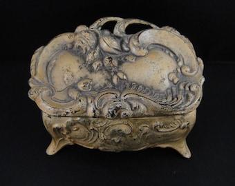 Metal Jewelry Casket/Coffin Stash Box