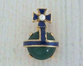 "Small Vintage Crown Trifari Royal Orb Pin 1"", Blue Enamel Green Cabochon Brooch, 1950s Coronation Jewelry"