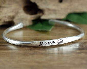 Mama Bear Bracelet, Mothers Cuff Bracelet, Mama Bear Cuff, Baby Bear Bracelet, Mothers Day Gift, Gift for Mom, Custom Cuff,