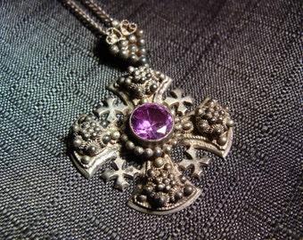 Wonderful Vintage Sterling Canterbury Cross Purple Crystal and Chain