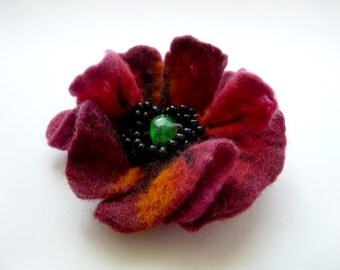 "A felt brooch ""Night  poppy"""