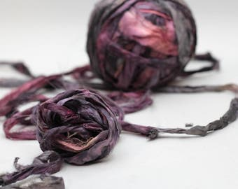 """Recycled Sari Ribbon ,by the yard, """"Hybrid Heart"""" hand dyed chiffon ribbon, jewelry making, doll clothing, spinning supplies"""