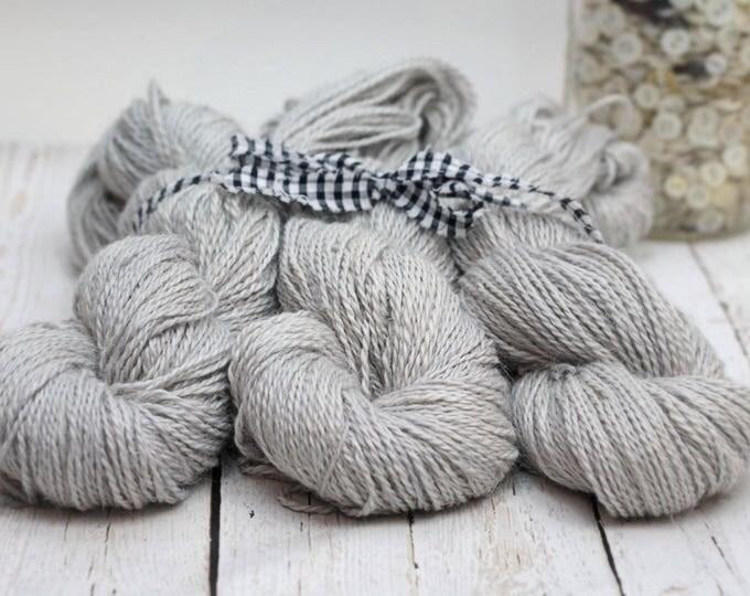 "SALE-Hand dyed Yarn Baby Alpaca, Silk, Linen ""Leiana"" DK Weight  Swoon Fibers ""Pearl Gray"""""