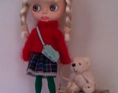 Red mohair sweater and double layercotton skirt for Blythe or Pullip