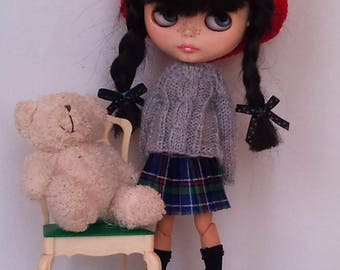 Knitted sweater  and a cotton pleated skirt Blythe or Pullip