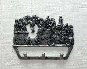 Vintage Metal Wall Hanger With Three Hooks For Coats Keys Hats