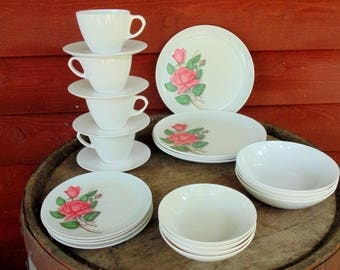 Royalon Melmac. Melmac Dishes. Rose Decor. 24 pc. Set for 4. 1950s Kitchen Decor. Dinnerware Set. Camper Dishes. Royalon. Melamine. Dishes.