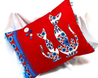 RETRO CAT cushion , a  Cushion with a Red and Blue Nordic Scandi vintage fabric with Cat Motif by WittyDawn