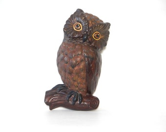 Vintage 1960s/1970s Hand Painted Brown Chalkware Owl