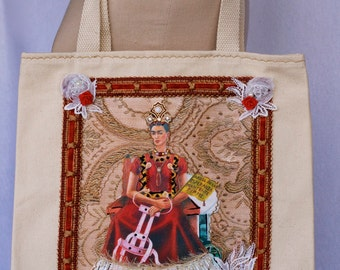 Frida, Colorful Floral, Cream Canvas, Tote Bag, Appliqué, Kahlo in a wheelchair