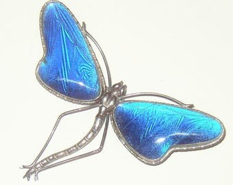 Vintage Signed Sterling Butterfly Wing Dragonfly Brooch