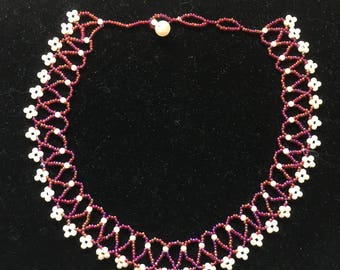 Raspberry and Cream collar necklace