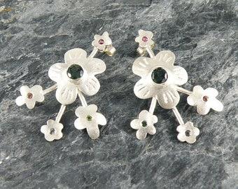 Tourmaline Earrings Spring Blossom, Sterling Silver Flowers Earrings, Silver Post Earrings with Green Tourmaline, Tourmaline Jewelry