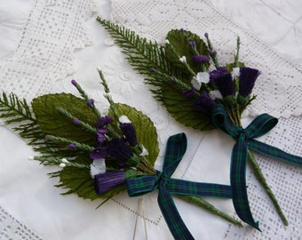 Blackwatch tartan mens artificial wedding buttonhole - scottish wedding