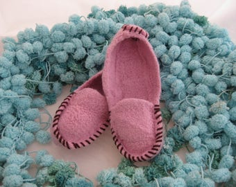Pink Wool Knit Felted Moccasin Slipper, Kids Sizes 7-8 9-10 11-12,  Made to Order, Top Stitched, Cozy Handmade House Slippers, Wool Mocs,