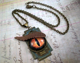 Dragon Eye Necklace, Handmade Jewelry, Dragon Jewelry, Gift for Her, Steampunk Jewelry
