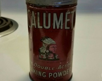 Vintage Calumet Baking Powder tin, unusual rustic kitchen collectible can