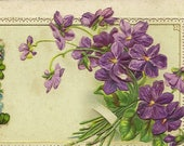 Antique Postcard Spring Violets With Forget-me-Nots Accents 1916 Santway Publisher – Lovely Friendship Postcard