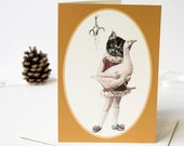 Christmas greeting card of a lucky black cat with a white goose and sprig of mistletoe. Vintage Christmas. Card for cat lovers