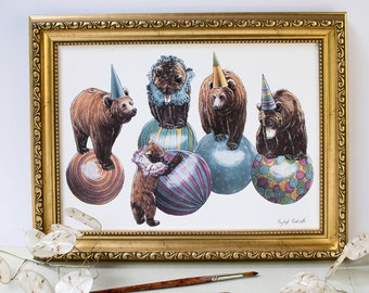 Grizzly bear circus animals balancing on balls. Landscape illustration print. Multi coloured. Nursery childrens print. Gift for a loved one