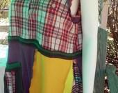 L/XL Eclectic Prints Boho Tunic Top Plaid Babydoll Tunic Fun Summer Sleeveless Recycled Top