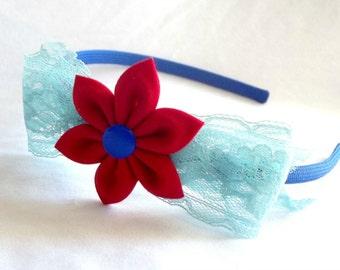 Cute Lace Bow Headband with Kanzashi Flower Red Blue Aqua