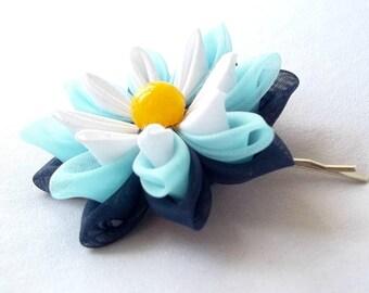 Blue and Yellow Lotus Hair Pin Tsumami Kanzashi Fabric Flower Fiber Art