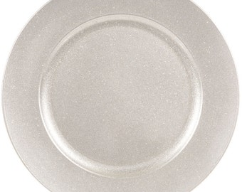 """13"""" Silver Wedding / Party Glitter Plate Charger"""