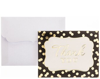 Black and Gold Foil Polka Dot Dotted Paper Wedding Bridal Shower Party Thank You Cards and Envelopes - Set of 20