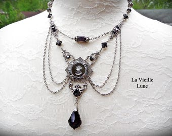 Jet Cameo Gothic Necklace, Jet Victorian Necklace, Victorian Jewelry Mourning Necklace, Jet Intaglio Cameo Necklace Silver Gothic Jewelry