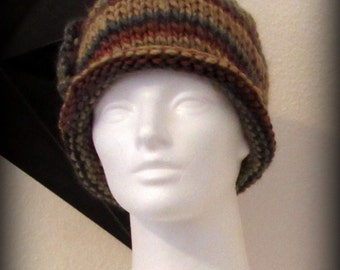 knit hat - knit cap - hand knit hat - beanie - wool knit hat - knit beanie - Merino wool knit hat - Merino wool hat - brown knit hat - gray