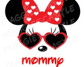 VINYL DecaL - DIY Iron On - Minnie with Sunglasses