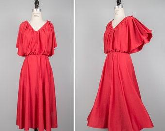 Disco Dress S/M • Flutter Sleeve Dress • Cape Dress • 70s Dress • Burgundy Dress • Fit and Flare Dress • Flutter Dress • A Line Dress |D1024