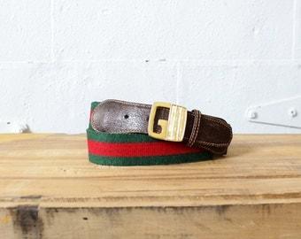Vintage Gucci Belt • 70s Belt • Vintage Designer Belt • Gucci Belt Buckle Made in Italy  | GBT003