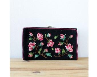 Rose Needlepoint Wallet • Vintage Wallet • Floral Wallet • Kisslock Wallet • Rose Print Black Wallet | W406