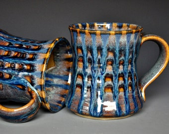 Blue Pottery Mug Ceramic Coffee Mug Stoneware Mug Color Pattern