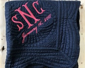 Navy Blue Baby Quilt - Personalized Blanket - Blue Nursery Decor - 36 x 46 - Monogram  Quilt - New Baby Gift
