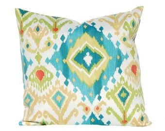 Outdoor Pillow Covers - Turquoise Outdoor Cushions - Ikat Pillow Cover - Patio Furniture Seating - Garden Decoration