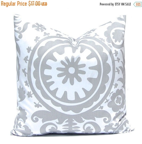 15% Off Sale Throw Pillow Covers - Decorative Pillows - Gray Pillow Covers - Suzani - Sofa Pillows - 20 x 20 Inches - Pillow Covers in Storm