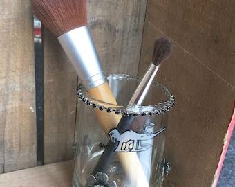 Makeup  brush holder   Vintage BC Comic glass repurposed   Vanity glass
