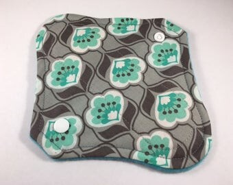 "Cloth Panty Liner 8"" Mint Posies"