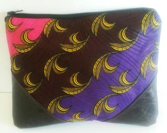 African Wax Print Fabric Clutch Purse, Brown Leather Clutch