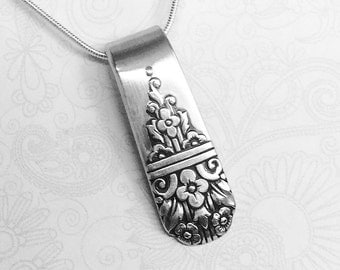 Silver Spoon Necklace Pendant, Silverware Jewelry, Spoon Jewelry 'Arcadia' 1938