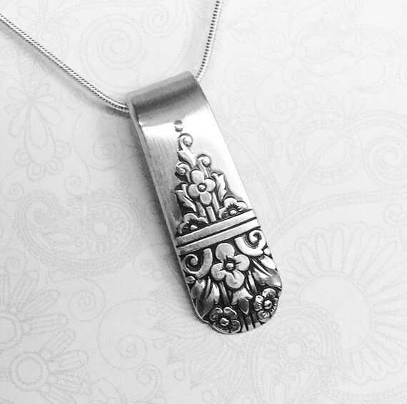 Silver Spoon Necklace Pendant, Spoon Jewelry 'Arcadia' 1938